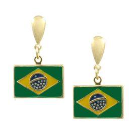 brinco bandeira brasil copa 2014 folheado banhado 3 camadas ouro 18k 6 meses garantia brilho folheados semijoias