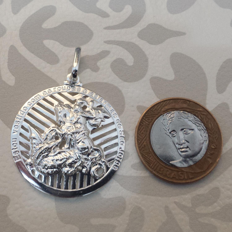 65734ed880cb3 Pingente medalha São Jorge grande em prata 990 Joia religiosa