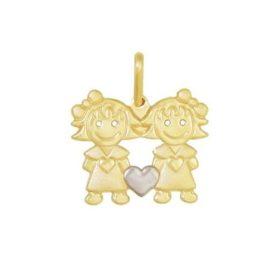 pingente 2 meninas coracao ouro branco folheado ouro 18k semijoia brilho folheados