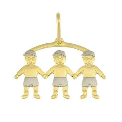 pingente 3 meninos linha mamae folheado ouro 18k semijoia brilho folheados