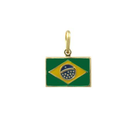 pingente bandeira brasil colecao copa 2014 semijoia brilho folheados