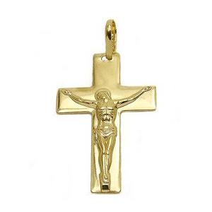 pingente cruz crucifixo com cristo folheado banhado ouro 18k semijoia brilho folheados