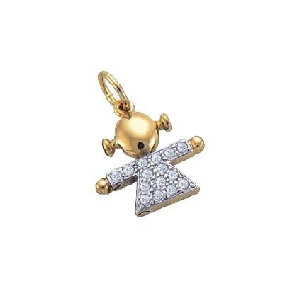 pingente menina contendo vestido todo cravejado com zirconia folheado ouro 18k semijoia sabrina brilho folheados