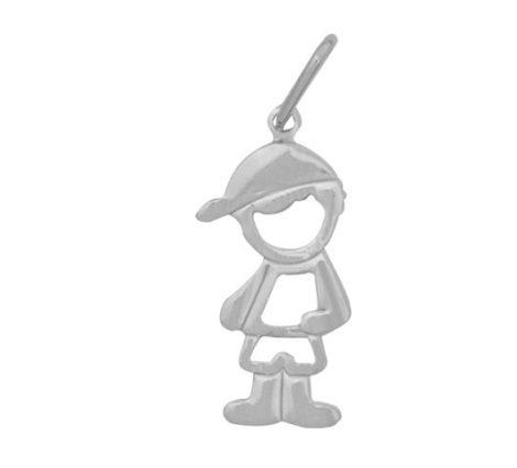 pingente menino vazado em prata 990 joia brilho folheados