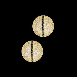 brinco bolinha micro zirconias branca e negra semijoia bruna brilho folheados 1