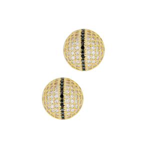 brinco bolinha micro zirconias branca e negra semijoia bruna brilho folheados