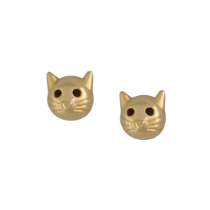 brinco infantil gatinho folheado banhado ouro 18k semijoia bruna brilho folheados