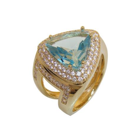 AB1572 anel triangulo cristal azul zirconia branca bruna semijoias brilho folheados