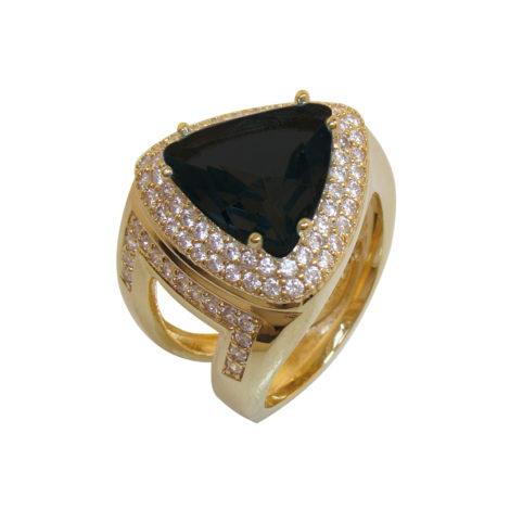 AB1572 anel triangulo cristal preto zirconia branca bruna semijoia brilho folheados