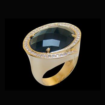 Anel pedra cristal azul oval zirconias nas laterais folheado ouro 18k semijoia bruna brilho folheados 1