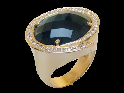 Anel pedra cristal azul oval zirconias nas laterais folheado ouro 18k semijoia bruna brilho folheados