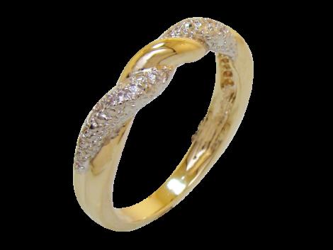 anel alianca fina torcida com zirconia folheado ouro 18k niquel free semijoia bruna brilho folheados