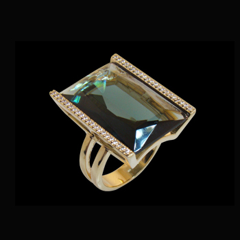 anel cristal retangular verde fume zirconia swarovski nas laterais folheado ouro 18k niquel free semijoia bruna brilho folheados 1 1