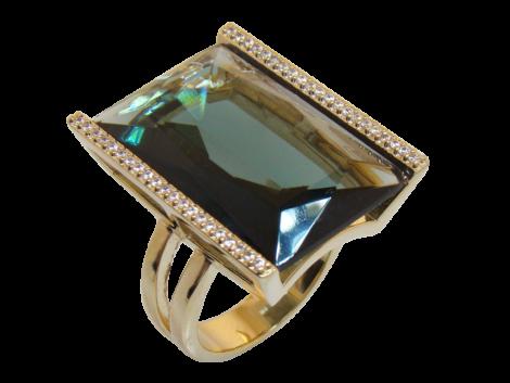 anel cristal retangular verde fume zirconia swarovski nas laterais folheado ouro 18k niquel free semijoia bruna brilho folheados 1
