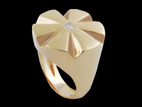 anel flor com zirconia swarovski folheado ouro 18k niquel free semijoia bruna brilho folheados