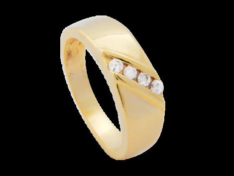 anel folheado ouro 18k com 4 zirconia swarovski niquel free semijoia bruna brilho folheados
