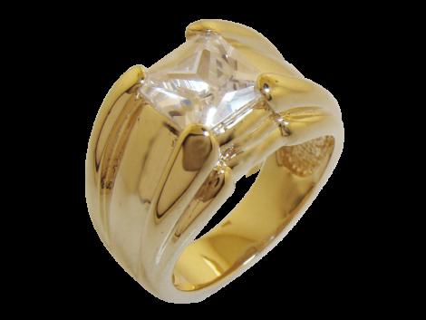 anel largo com zirconia quadrada folheado ouro 18k niquel free semijoia bruna brilho folheados