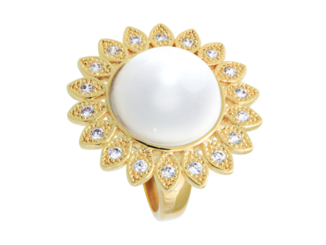 maxi anel margarida com meia perola branca zirconias swarovski nas petalas folheado ouro 18k semijoia bruna brilho folheados
