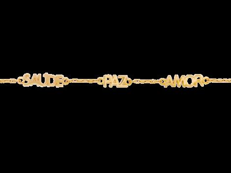 pulseira saude paz amor folheada banhada 3 camadas ouro 18k antialergica semijoia bruna brilho folheados
