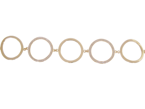 Pulseira 5 circulos 2 com zirconias swarovski folheado ouro 18k antialergica semijoia bruna brilho folheados