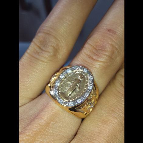 anel nossa senhora das gracas semijoia banhado ouro amarelo 18k