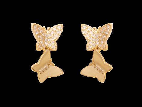 brinco medio 2 borboletas zirconias swarovski folheado ouro 18k antilalergico semijoia bruna brilho folheados