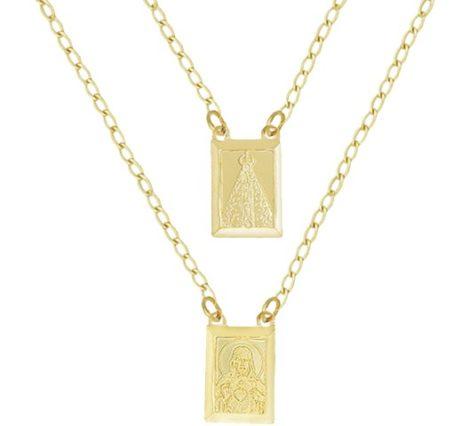 escapulario medalha nossa senhora aparecida jesus contem oracao folheado ouro 18k semijoia brilho
