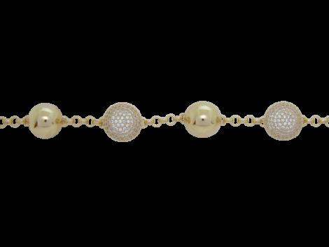 pulseira meia bola micro zirconias swarovski folheado ouro 18k semijoia bruna brilho folheados