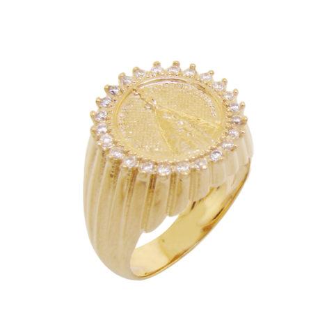 1 anel redondo nossa senhora aparecida zirconias folheado ouro 18k semijoia antialergica sem niquel bruna semijoia brilho folheados