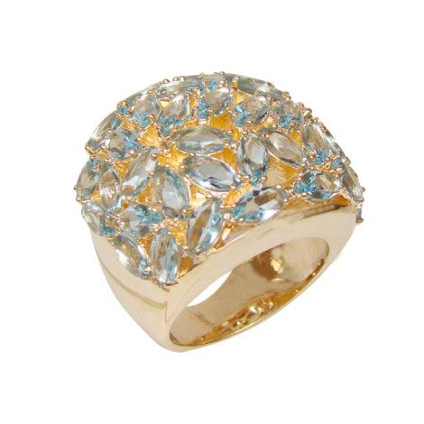 1 maxi anel com cristais formato folha azul folheado ouro 18k semijoia antialergica sem niquel bruna semijoias brilho folheados