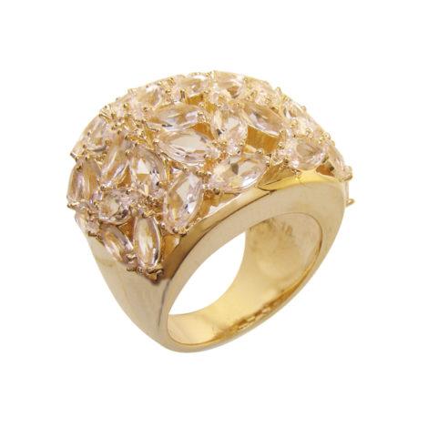 1 maxi anel com cristais formato folha rosa folheado ouro 18k semijoia antialergica sem niquel bruna semijoias brilho folheados