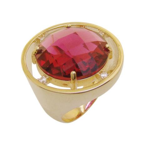 1 maxi anel redondo cristal lapidado rosa fucsia zirconia swarovski folheado ouro 18k semijoia antialergica sem niquel bruna semijoias brilho folheados