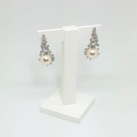 R1689101 brinco perfeito para noiva prateado com zirconias brancas e perola branca sabrina joias brilho folheados