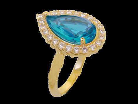anel gota cristal turmalina paraiba azul noivado princesa folheado ouro 18k semijoia antialergica sem niquel bruna semijoias brilho folheados