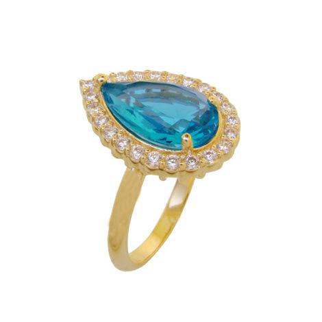 anel noivado gota cristal turmalina paraiba azul princesa folheado ouro 18k semijoia antialergica sem niquel bruna semijoias brilho folheados