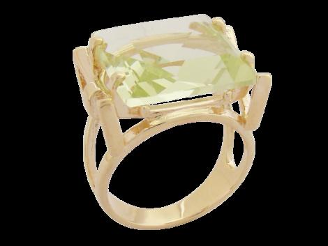 anel quadrado cristal verde folheado banhado ouro 18k dourado semijoia antialergica sem niquel nickel free bruna semijoias brilho folheados colecao Fernanda Machado