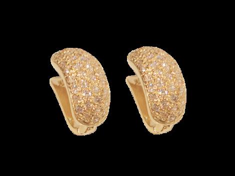 brinco bipartido cravejado zirconia swarovski folheado ouro 18k dourado semijoia antialergica sem niquel bruna semijoias brilho folheados