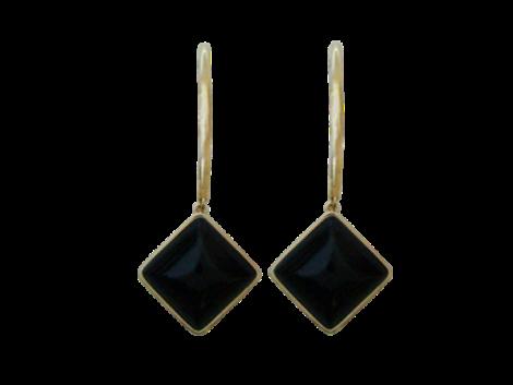 brinco comprido pedra agata preta no final formato losango folheado banhado ouro 18k dourado semijoia antialergica sem niquel bruna semijoias brilho folheados.jpg