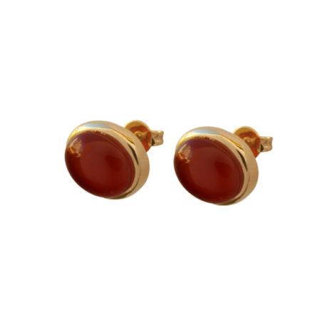 brinco redondo pedra brasileira agata vermelha folheado a ouro 18k dourado semijoia antialergica sem niquel nickel free bruna semijoias brilho folheados