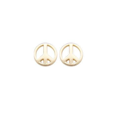 brinco simbolo paz icone folheado ouro 18k semijoia antialergica sem niquel bruna semijoias brilho folheados