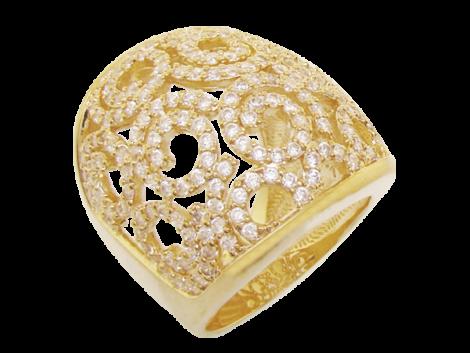 maix anel zirconias design caracois folheado ouro 18k semijoia antialergica sem niquel bruna semijoias brilho folheados