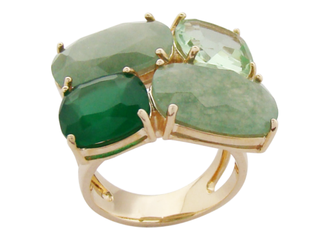 maxi anel 4 pedras cristal verde folheado banhado ouro 18k dourado semijoia antialergica sem niquel nickel free bruna semijoias brilho folheados