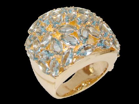 maxi anel com cristais formato folha azul folheado ouro 18k semijoia antialergica sem niquel bruna semijoias brilho folheados