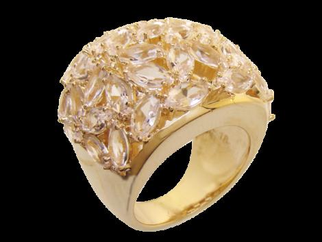maxi anel com cristais formato folha rosa folheado ouro 18k semijoia antialergica sem niquel bruna semijoias brilho folheados