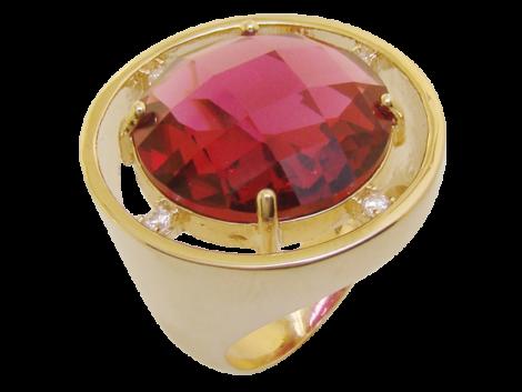 maxi anel redondo cristal lapidado rosa fucsia zirconia swarovski folheado ouro 18k semijoia antialergica sem niquel bruna semijoias brilho folheados