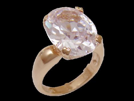 anel zirconia cor cristal oval grande folheado banhado ouro 18k semijoia bruna brilho folheados