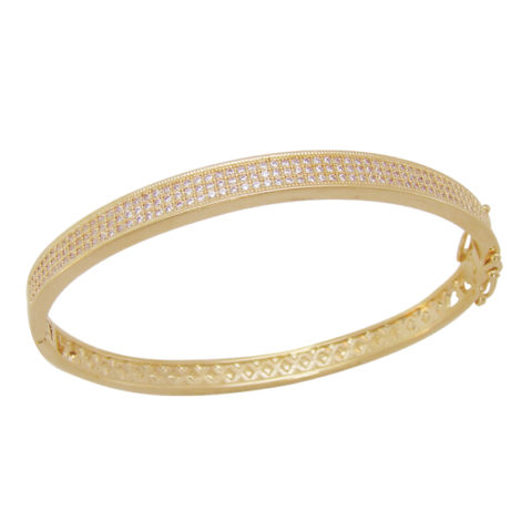 bracelete cravejado 3 fileiras micro zirconia cristal folheado banhado ouro 18k dourado semijoia antialergica sem niquel nickel free bruna semijoias brilho folheados bp0373