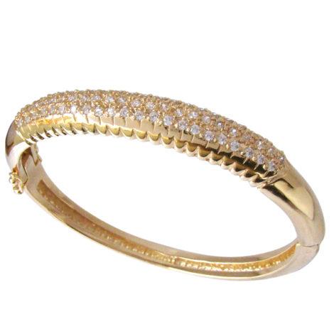 bracelete grosso bipartido fecho trava seguro cravejado zirconia swarovski cristal folheado banhado ouro 18k dourado sem niquel nickel free bruna semijoias brilho folheados BP0215 5