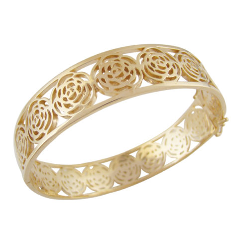 bracelete largo pulseira camelias flor vazado fecho tranqueta folheado banhado ouro 18k dourado semijoia antialergica sem niquel nickel free bruna semijoias brilho folheados