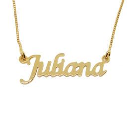 Colar nome personalizado joia folheada em ouro 18k